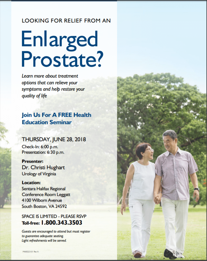 Looking for Relief from an Enlarged Prostate? Join Dr. Christi Hughart for a Free Seminar on June 28th. RSVP Today!