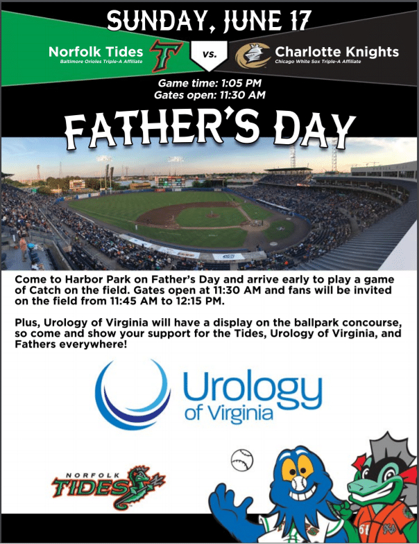 Keeping Dad Healthy! Urology of Virginia to Sponsor Father's Day at Harbor Park on June 17th