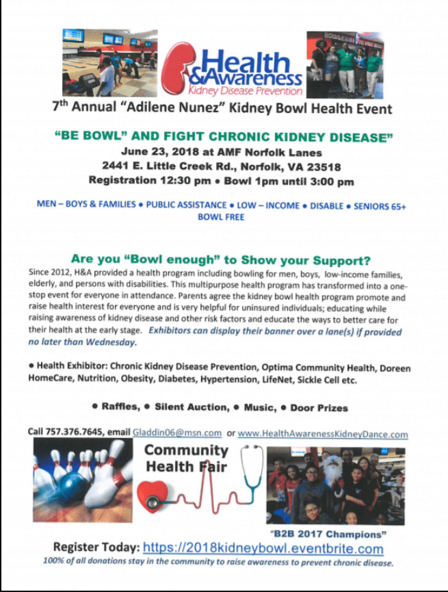 """Are You """"Bowl enough"""" to Fight Chronic Kidney Disease? Join Us Saturday, June 23rd at AMF Norfolk Lanes"""