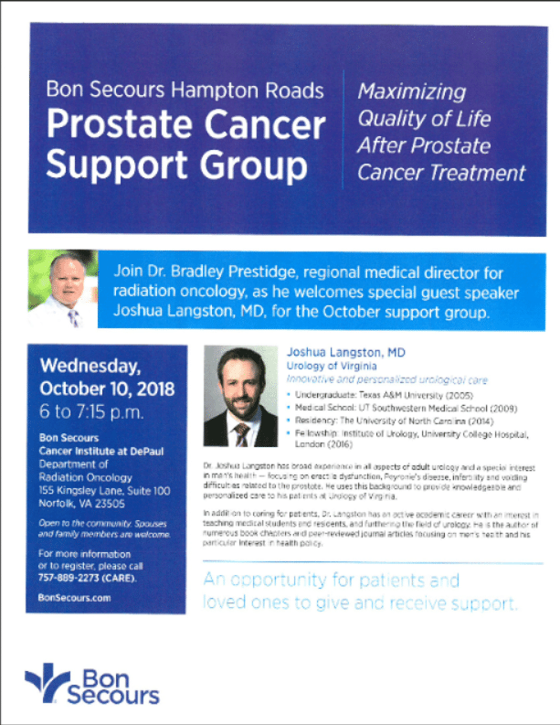 Dr. Langston speaks at Prostate Cancer Support Group