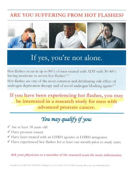 Men, are you suffering with hot flashes and have advanced prostate cancer ? Call or email us today!