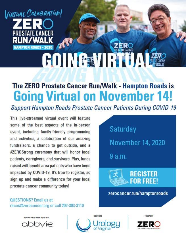 The ZERO Prostate Cancer Run/Walk - Hampton Roads is Going Virtual on November 14!